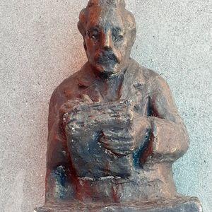 """10"""" Antique chalkware ? Statue scholar philosopher"""